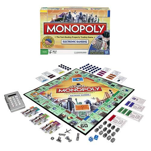 monopoly here now electronic banking edition hasbro. Black Bedroom Furniture Sets. Home Design Ideas