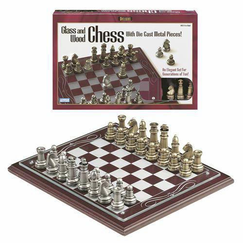 Deluxe  Wood Chess with Metal Pieces