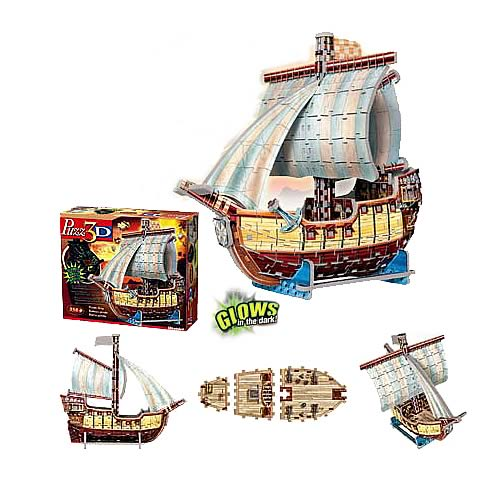 Puzz 3D Glow In The Dark Pirate Ship Puzzle