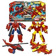 Marvel Transformers Spider-Man and Iron Man Deluxe Figures