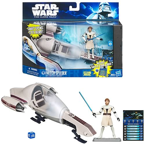 Star Wars Clone Wars Freeco Bike Vehicle and Obi-Wan Kenobi