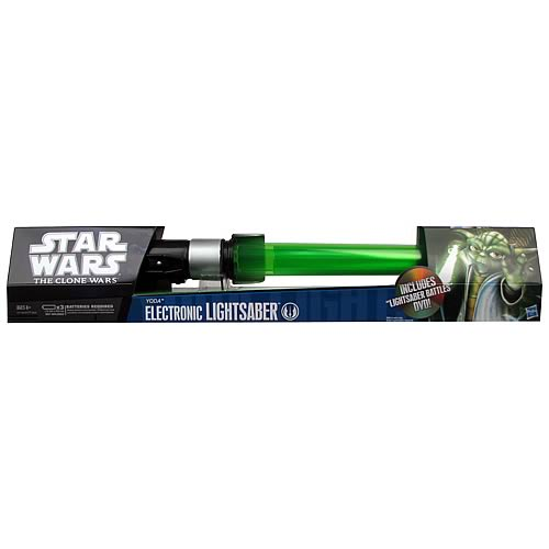 Star Wars Yoda Force Action Green Lightsaber with DVD