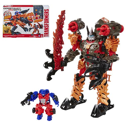 Transformers Constructbots Grimlock with Optimus Prime