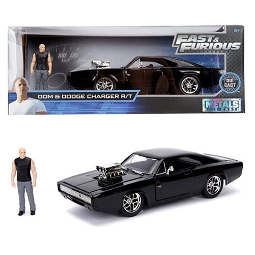 Hollywood_Rides_Fast_and_the_Furious_Dodge_Charger_124_Scale_DieCast_Metal_Vehicle_with_Dom_Figure