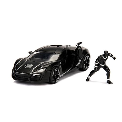 Black Panther Hollywood Rides Lykan 1:24 Scale Die-Cast Metal Vehicle with Figure
