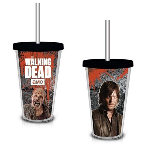 The Walking Dead Daryl and Zombie Walker 18 oz. Travel Cup