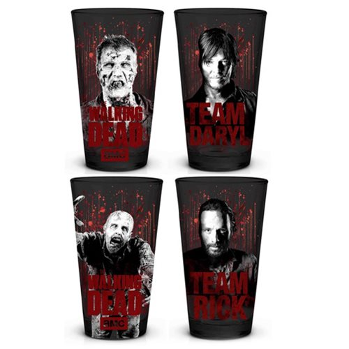 The Walking Dead Black & White & Red Pint Glass 4-Pack