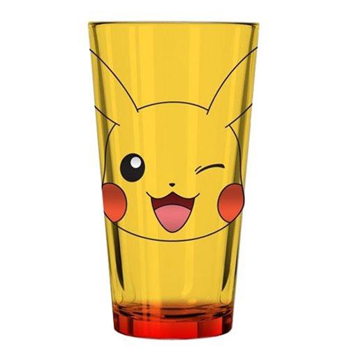 Pokemon Pikachu Winking Face Yellow Pint Glass