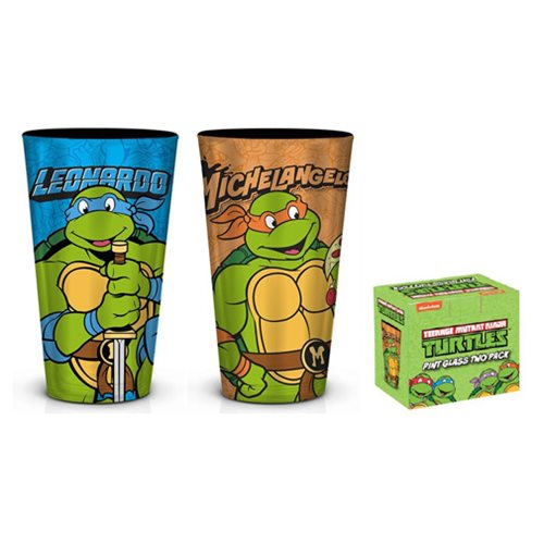 TMNT Leo and Mikey Foil Pint Glass 2-Pack
