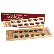 Mancala Game Deluxe Wood Board with Glass Beads Version