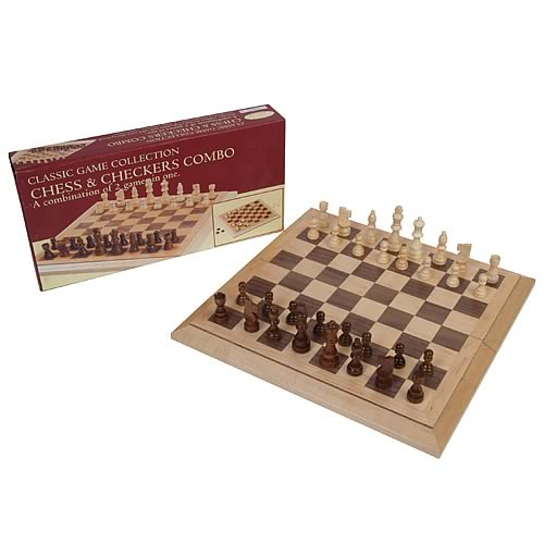 Chess and Checkers Game Set Deluxe Staunton Wood Version