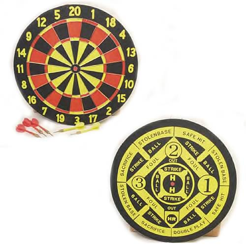 Dart Board 2-Sided Version With 6 Tru-Flight Darts