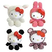 Hello Kitty Animal Beanie Plush Wave 1 Set