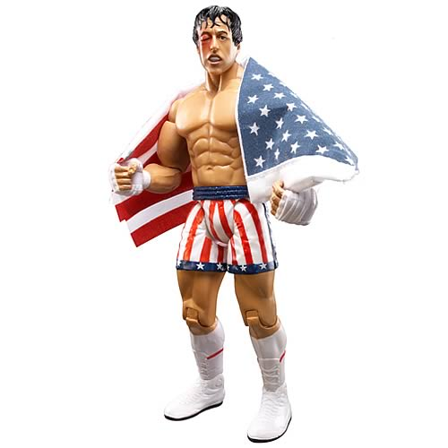Rocky IV Battle Damage Rocky with Flag Action Figure
