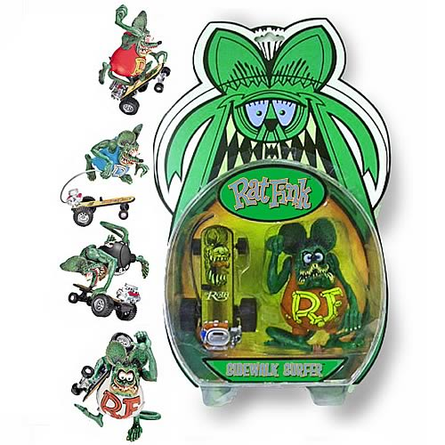 Rat Fink Deluxe Action Figure with Skateboard Case