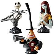 Busts > Nightmare Before Christmas - Small and detailed!    Display them anywhere!   Your favorite characters!  This set of 3 pieces may contain the following characters (subject to change):  1x Jack Skellington  1x Sally  1x Mayor    These finely detailed plastic bust ups may measure around 5-inches tall and come in a window box.: Sizes