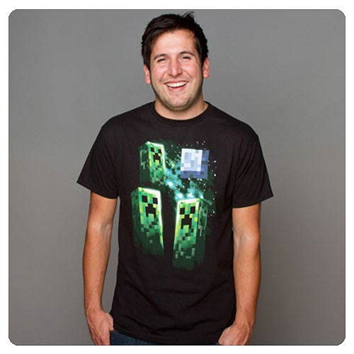Minecraft Three Creeper Moon Black T-Shirt