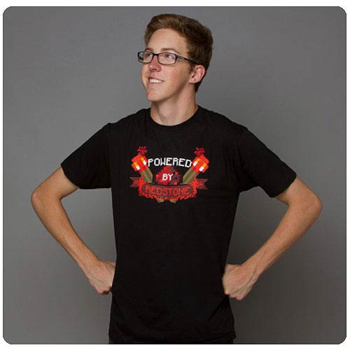 Minecraft Powered By Redstone Black T-Shirt