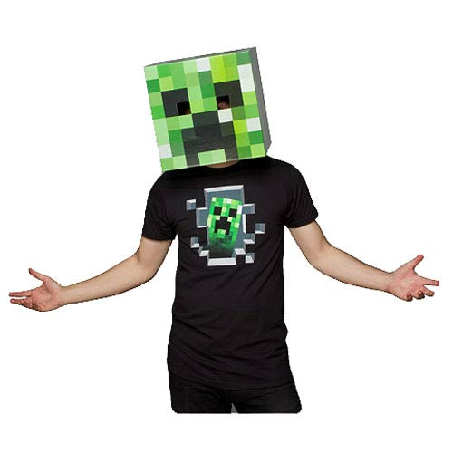 Minecraft Creeper Head Green Cardboard Mask