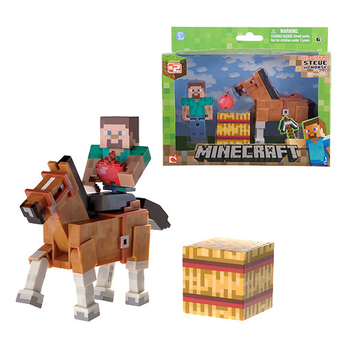 Minecraft Steve with Chestnut Horse Action Figure 2-Pack