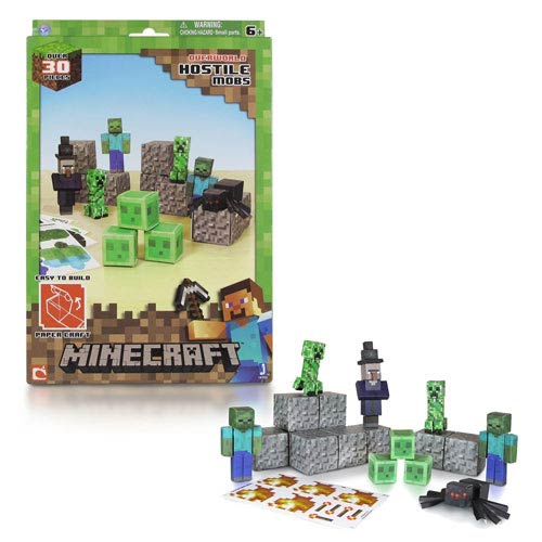 Minecraft Papercraft Hostile Mobs 30-Piece Set