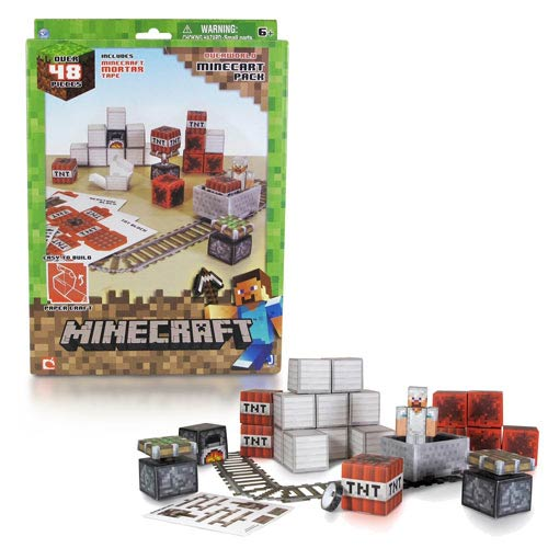 Minecraft Papercraft Minecart Set 48-Piece Pack