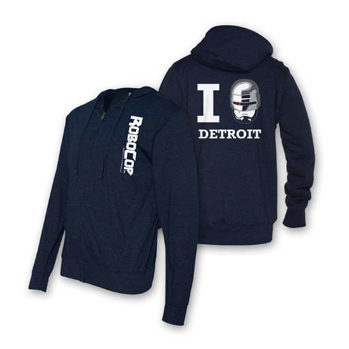 Robocop I Heart Detroit Lightweight Zip-Up Hooded Sweatshirt