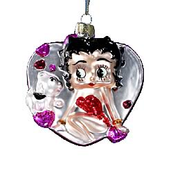Betty Boop with Dog in Heart 5-Inch Glass Ornament