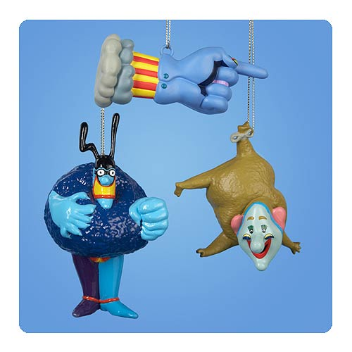 Beatles Yellow Submarine Blow Mold Ornament Set