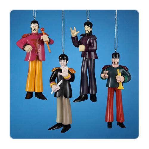 The Beatles Yellow Submarine Sgt Pepper Ornament 4-Pack