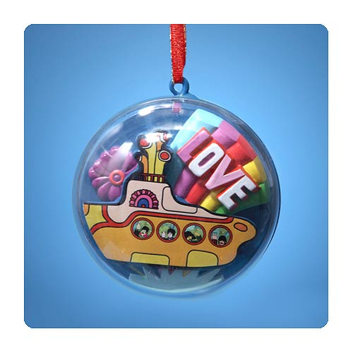 Beatles Yellow Submarine Clear Dome 3 1/2-Inch Ornament