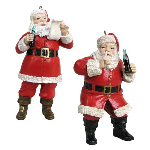 Coca-Cola Santa 4 3/4-Inch Holiday Ornament Set