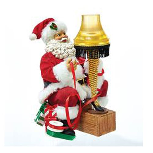 A Christmas Story Santa with Leg Lamp Light-Up Statue