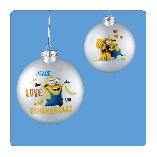 Despicable Me Minion Decal Silver Ball Ornament