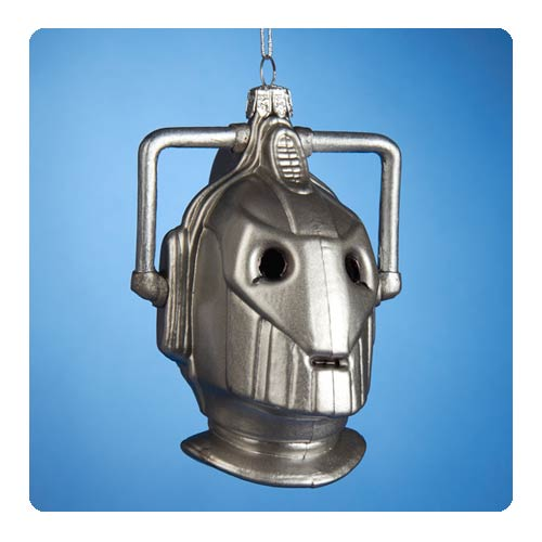 Doctor Who Cyberman Head Glass Christmas Ornament