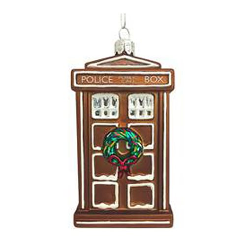 Doctor Who Gingerbread TARDIS 4 1/2-Inch Glass Ornament