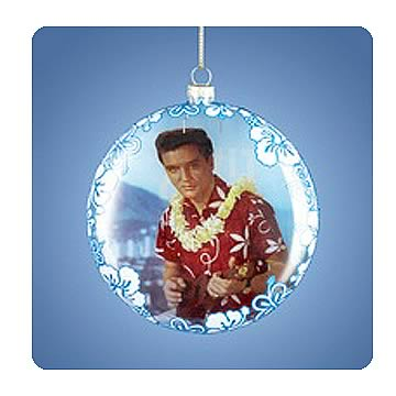 Elvis Presley Blue Hawaii Glass Bubble Ornament