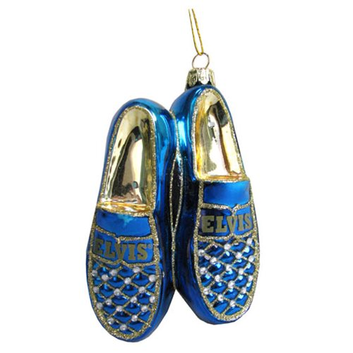 Elvis Presley Blue Suede Shoes 5-Inch Glass Ornament