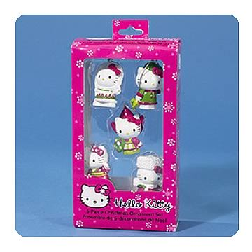 Hello Kitty 1 3/4-Inch 5-Pack Mini Ornaments
