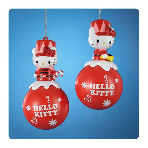 Hello Kitty Sitting on Red Ball Ornament Set