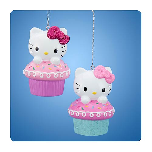 Hello Kitty Cupcake Blow Mold Ornament Set