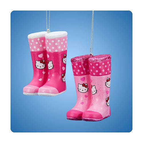 Hello Kitty Rain Boot Blow Mold Ornament Set