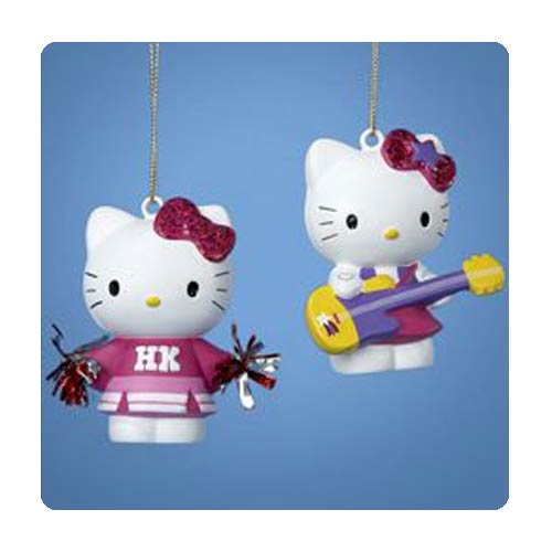 Hello Kitty Rock Star and Cheerleader Ornament Set