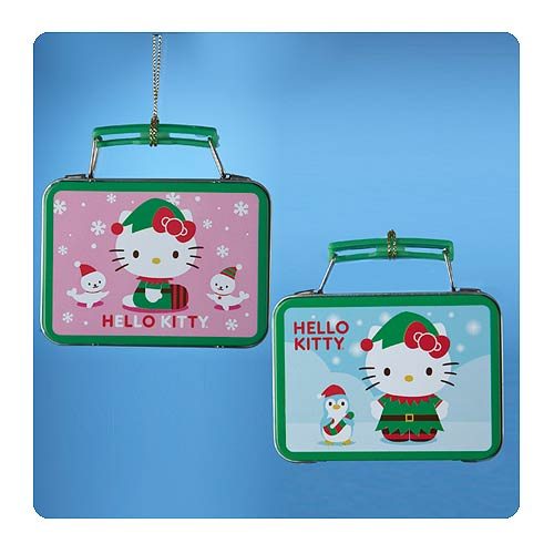 Hello Kitty Mini Tin Green Lunch Box Ornament