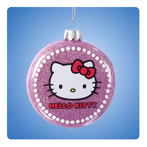 Hello Kitty Glitter Glass Pink Ball Ornament