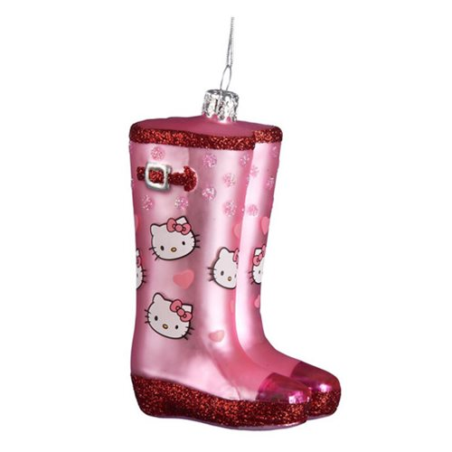 Hello Kitty Rain Boots Pink Glitter Ornament