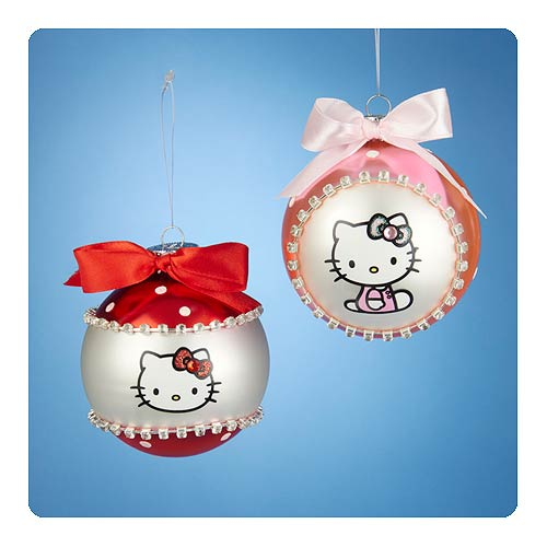 Hello Kitty Bow Tie Glass Ball Ornament Set