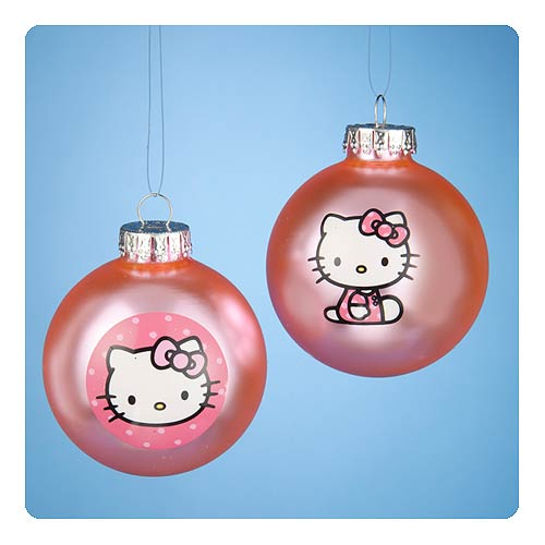 Hello Kity Light Pink Glass Ball Ornament 2-Pack