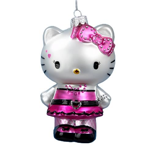 Hello Kitty Punk Rock 5-Inch Glass Ornament