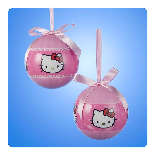 Hello Kitty Decoupage Pink Ball Ornament Set